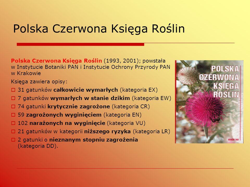 Polska Czerwona Księga Roślin Polska Czerwona Księga Roślin (1993, 2001); powstała w Instytucie Botaniki PAN i Instytucie Ochrony Przyrody PAN w Krako