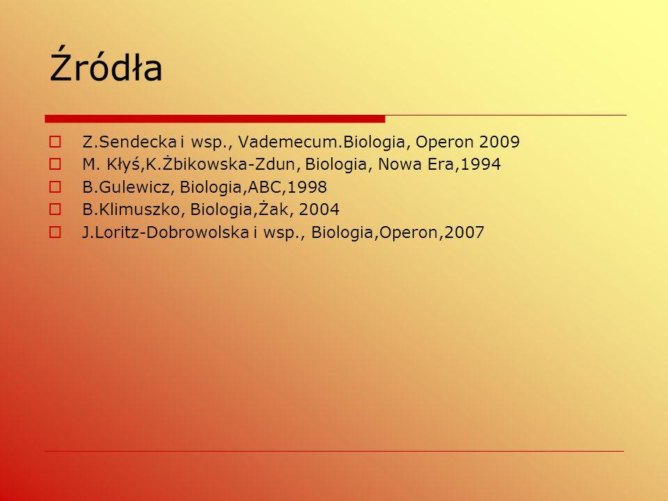 Źródła  Z.Sendecka i wsp., Vademecum.Biologia, Operon 2009  M.