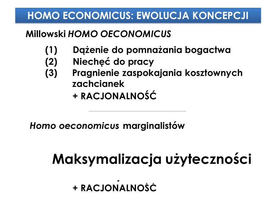 (2)Niechęć do pracy (3) Pragnienie zaspokajania kosztownych zachcianek (1) Dążenie do pomnażania bogactwa + RACJONALNOŚĆ Millowski HOMO OECONOMICUS Homo oeconomicus marginalistów HOMO ECONOMICUS: EWOLUCJA KONCEPCJI (2)Niechęć do pracy (3) Pragnienie zaspokajania kosztownych zachcianek (1) Dążenie do pomnażania bogactwa + RACJONALNOŚĆ (1) Dążenie do pomnażania UŻYTECZNOŚCI/ZYSKU (2)Ujemna UŻYTECZNOŚĆ pracy (3) Pragnienie zaspokajania kosztownych zachcianek Maksymalizacja użyteczności