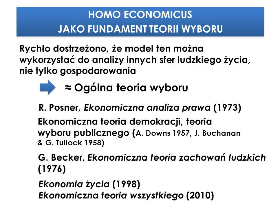 HOMO ECONOMICUS JAKO FUNDAMENT TEORII WYBORU HOMO ECONOMICUS JAKO FUNDAMENT TEORII WYBORU Rychło dostrzeżono, że model ten można wykorzystać do analizy innych sfer ludzkiego życia, nie tylko gospodarowania Ekonomiczna teoria demokracji, teoria wyboru publicznego ( A.