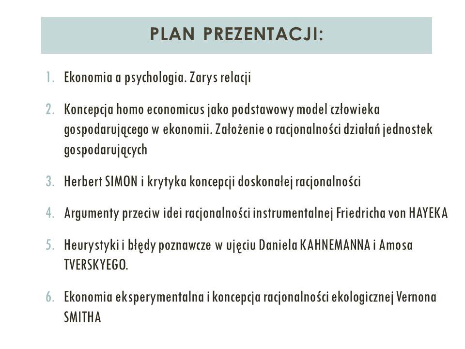 PLAN PREZENTACJI: 1.Ekonomia a psychologia.