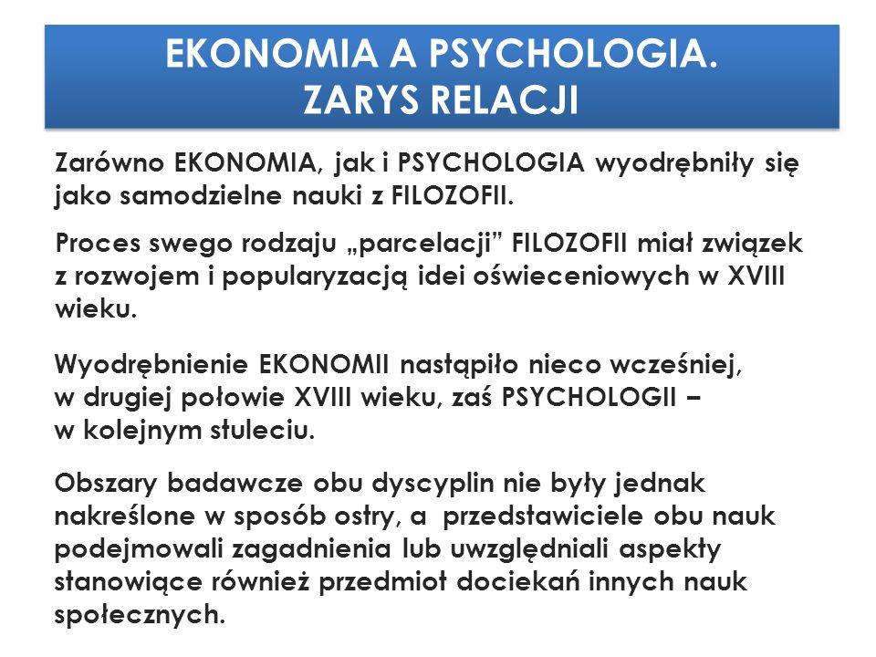 EKONOMIA A PSYCHOLOGIA. ZARYS RELACJI EKONOMIA A PSYCHOLOGIA.