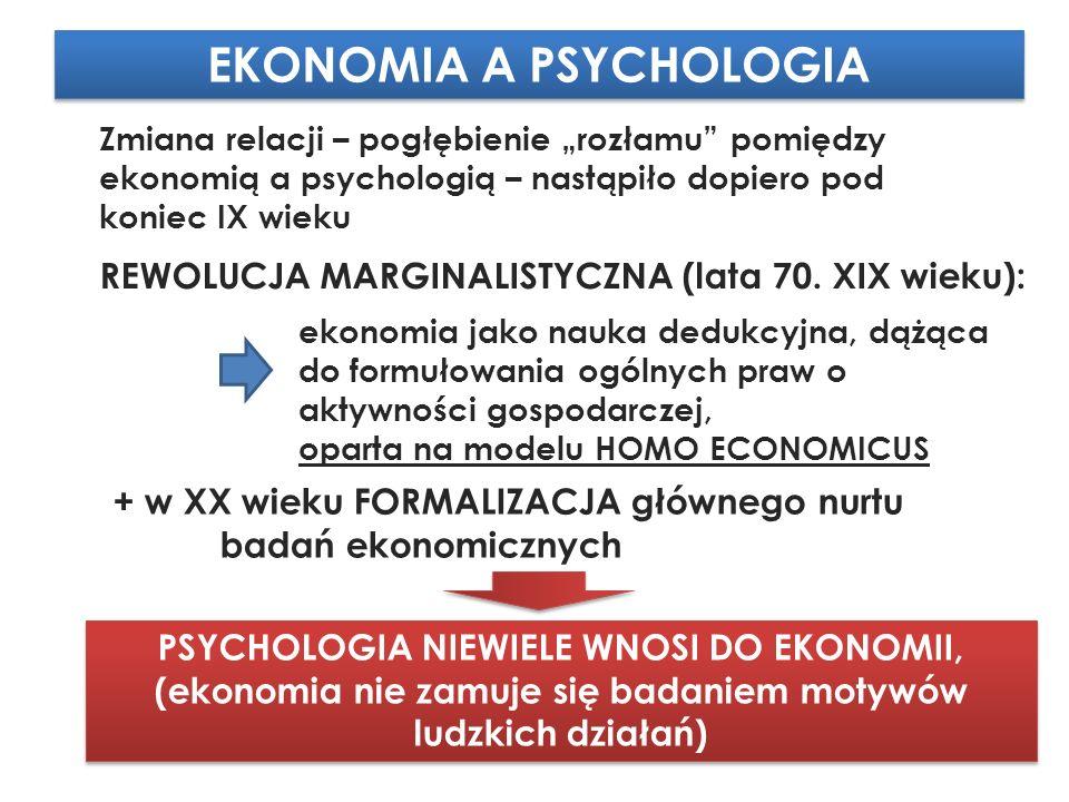 """EKONOMIA A PSYCHOLOGIA Zmiana relacji – pogłębienie """"rozłamu pomiędzy ekonomią a psychologią – nastąpiło dopiero pod koniec IX wieku REWOLUCJA MARGINALISTYCZNA (lata 70."""