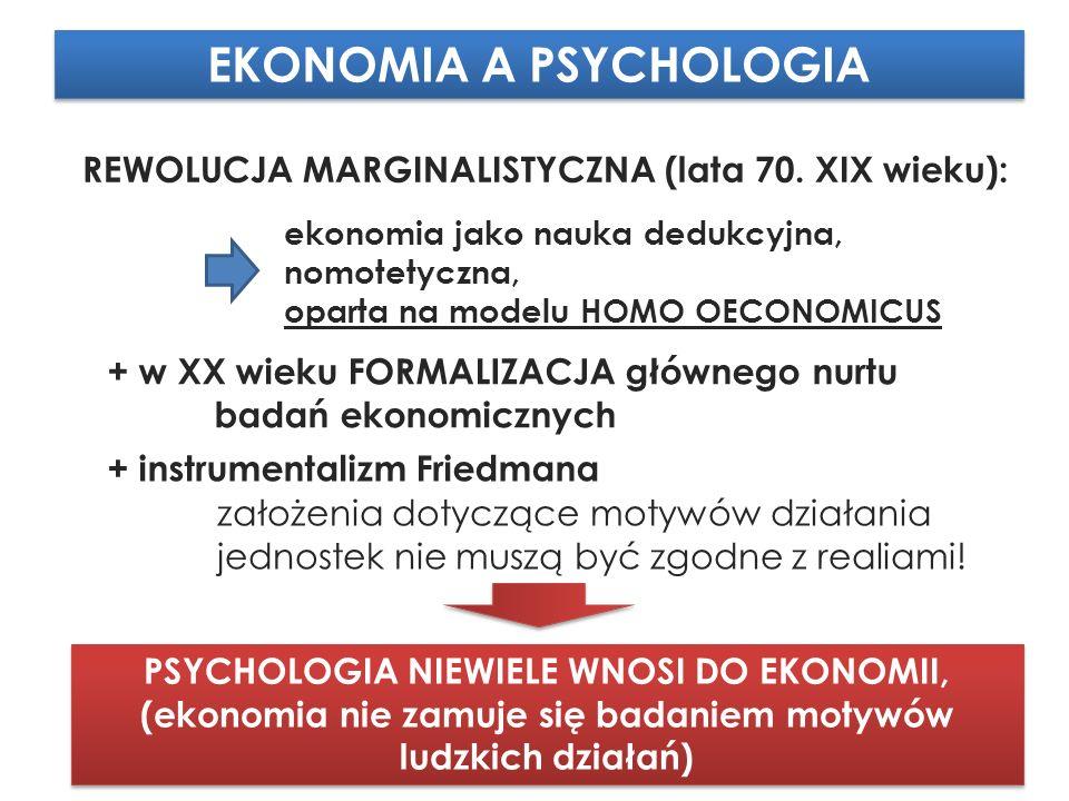 EKONOMIA A PSYCHOLOGIA REWOLUCJA MARGINALISTYCZNA (lata 70.