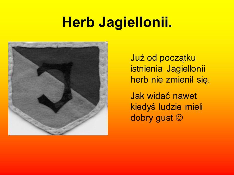 Herb Jagiellonii. Już od początku istnienia Jagiellonii herb nie zmienił się.
