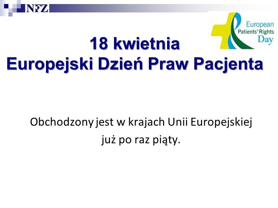 18 kwietnia Europejski Dzień Praw Pacjenta Obchodzony jest w krajach Unii Europejskiej już po raz piąty.