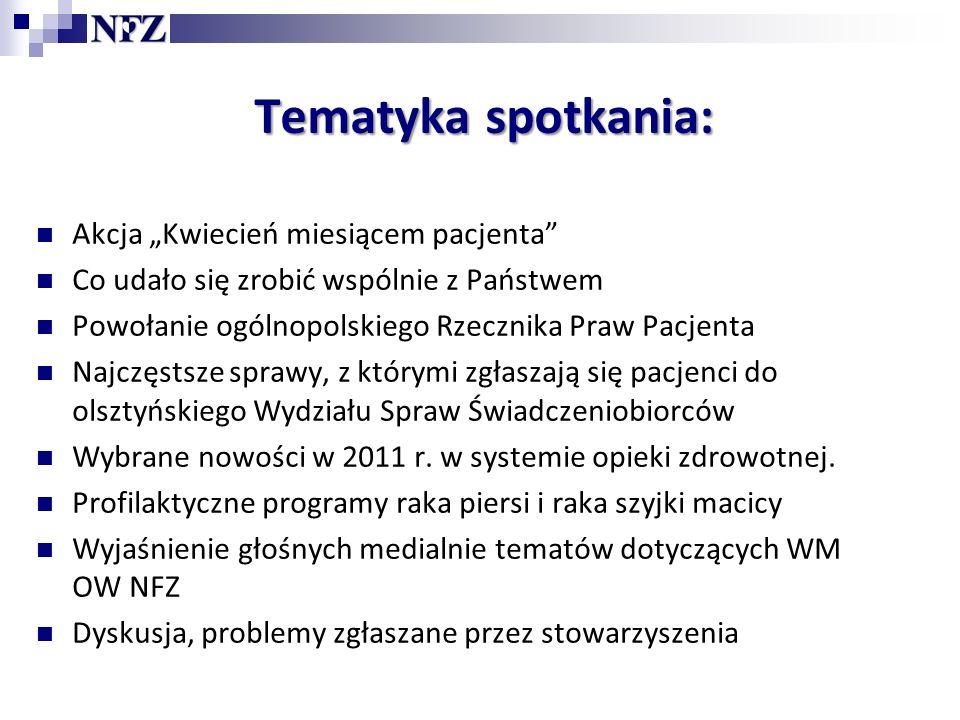 Rzecznik Praw Pacjenta Sekcja Skarg i Wniosków w Oddziale W WM OW NFZ nie ma już Rzecznika Praw Pacjenta.