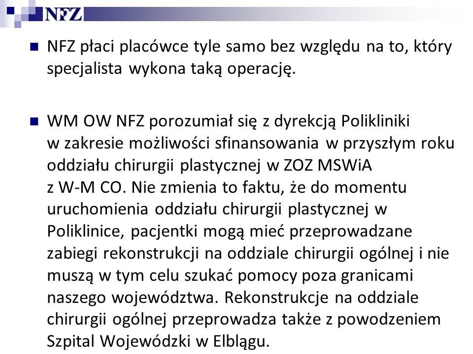 NFZ płaci placówce tyle samo bez względu na to, który specjalista wykona taką operację.