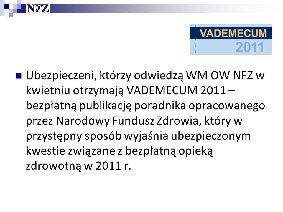 Ubezpieczeni, którzy odwiedzą WM OW NFZ w kwietniu otrzymają VADEMECUM 2011 – bezpłatną publikację poradnika opracowanego przez Narodowy Fundusz Zdrowia, który w przystępny sposób wyjaśnia ubezpieczonym kwestie związane z bezpłatną opieką zdrowotną w 2011 r.