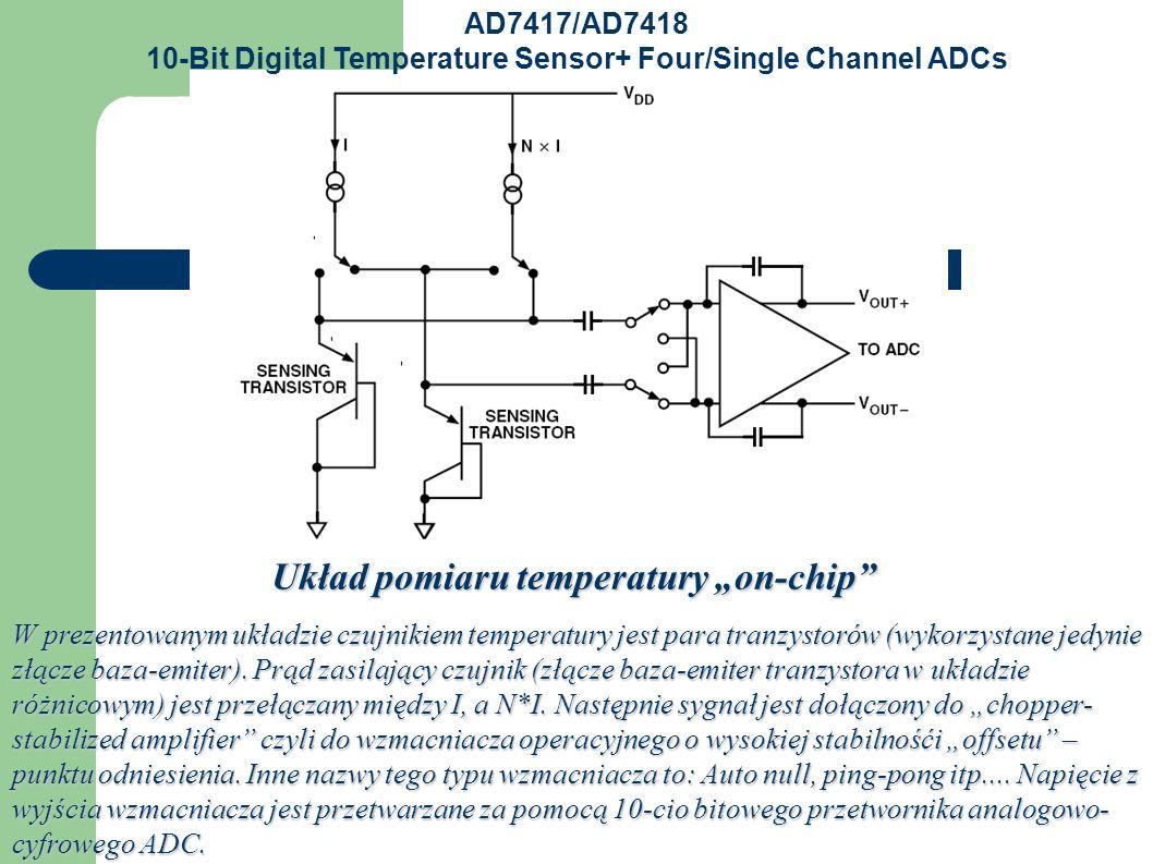 """Układ pomiaru temperatury """"on-chip W prezentowanym układzie czujnikiem temperatury jest para tranzystorów (wykorzystane jedynie złącze baza-emiter)."""