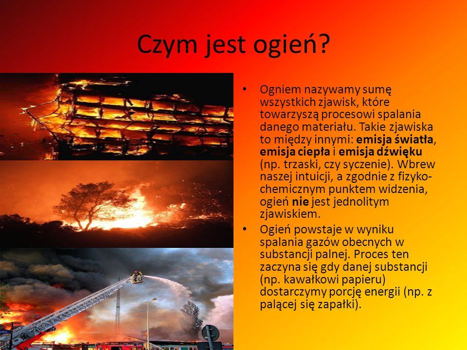 Czym jest ogień? Ogniem nazywamy sumę wszystkich zjawisk, które towarzyszą procesowi spalania danego materiału. Takie zjawiska to między innymi: emisj
