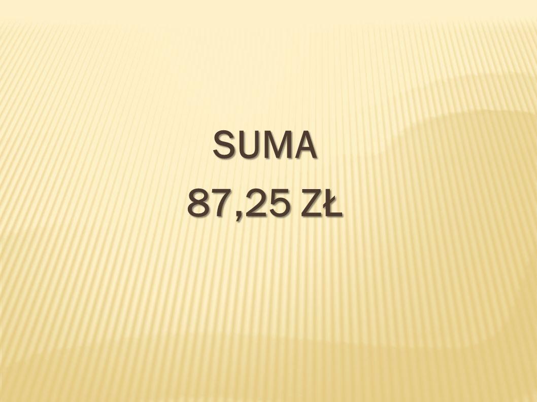 SUMA 87,25 ZŁ