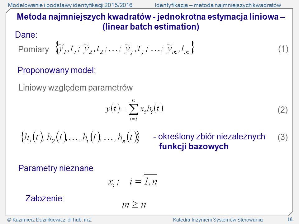 Modelowanie i podstawy identyfikacji 2015/2016Identyfikacja – metoda najmniejszych kwadratów  Kazimierz Duzinkiewicz, dr hab. inż. Katedra Inżynierii