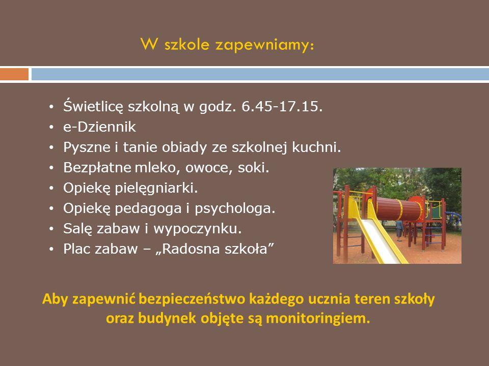 Świetlicę szkolną w godz. 6.45-17.15. e-Dziennik Pyszne i tanie obiady ze szkolnej kuchni.