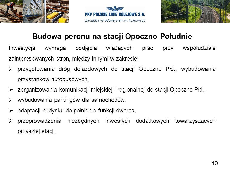 Zarządca narodowej sieci linii kolejowych Budowa peronu na stacji Opoczno Południe Inwestycja wymaga podjęcia wiążących prac przy współudziale zainter