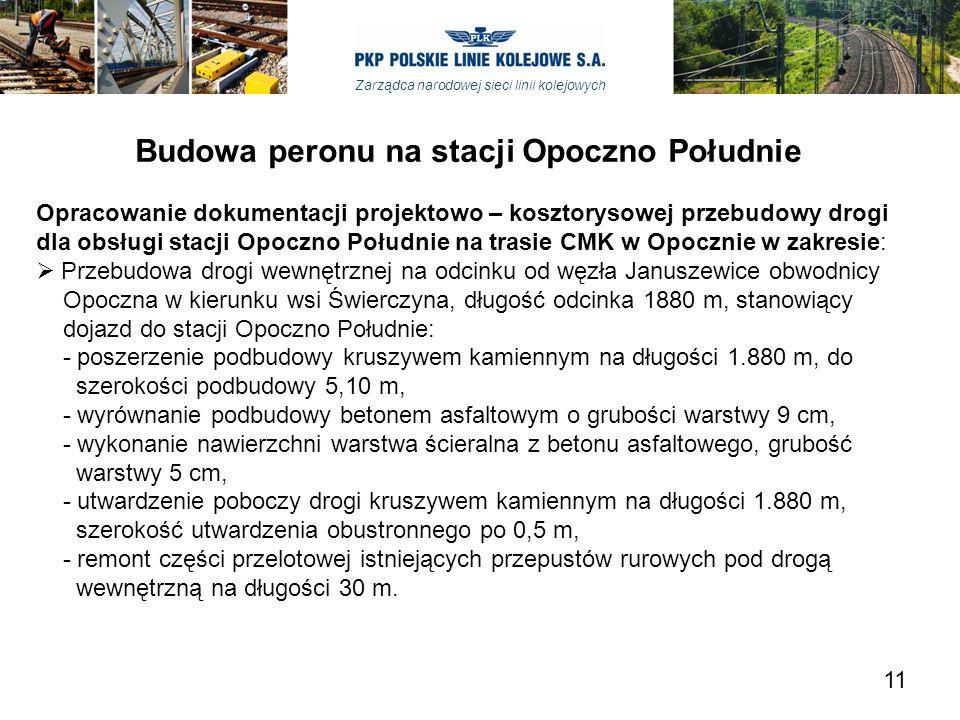 Zarządca narodowej sieci linii kolejowych Budowa peronu na stacji Opoczno Południe Opracowanie dokumentacji projektowo – kosztorysowej przebudowy drog