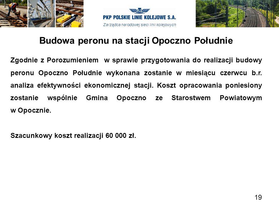 Zarządca narodowej sieci linii kolejowych Budowa peronu na stacji Opoczno Południe Zgodnie z Porozumieniem w sprawie przygotowania do realizacji budow