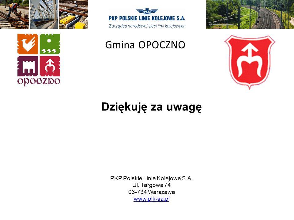 Zarządca narodowej sieci linii kolejowych Dziękuję za uwagę PKP Polskie Linie Kolejowe S.A. Ul. Targowa 74 03-734 Warszawa www.plk-sa.pl www.plk-sa.pl