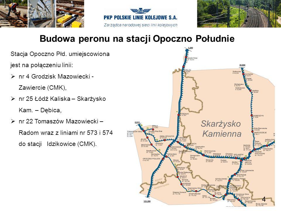 Zarządca narodowej sieci linii kolejowych Budowa peronu na stacji Opoczno Południe Budowa peronu na stacji Opoczno wraz z przebudową niezbędnej infrastruktury technicznej stacji realizowana będzie w latach 2013 – 2014 w ramach zadania inwestycyjnego pn.
