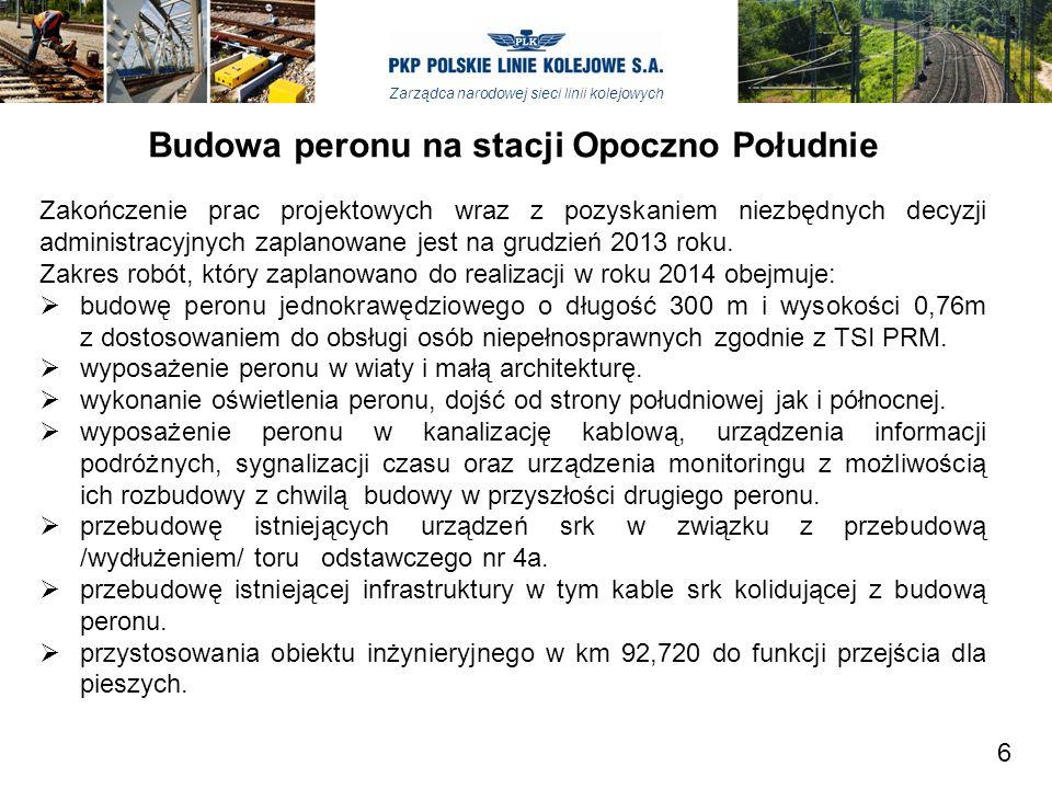 Zarządca narodowej sieci linii kolejowych Budowa peronu na stacji Opoczno Południe Zakończenie prac projektowych wraz z pozyskaniem niezbędnych decyzj