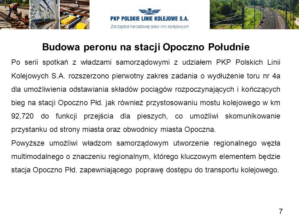 Zarządca narodowej sieci linii kolejowych Budowa peronu na stacji Opoczno Południe Po serii spotkań z władzami samorządowymi z udziałem PKP Polskich Linii Kolejowych S.A.