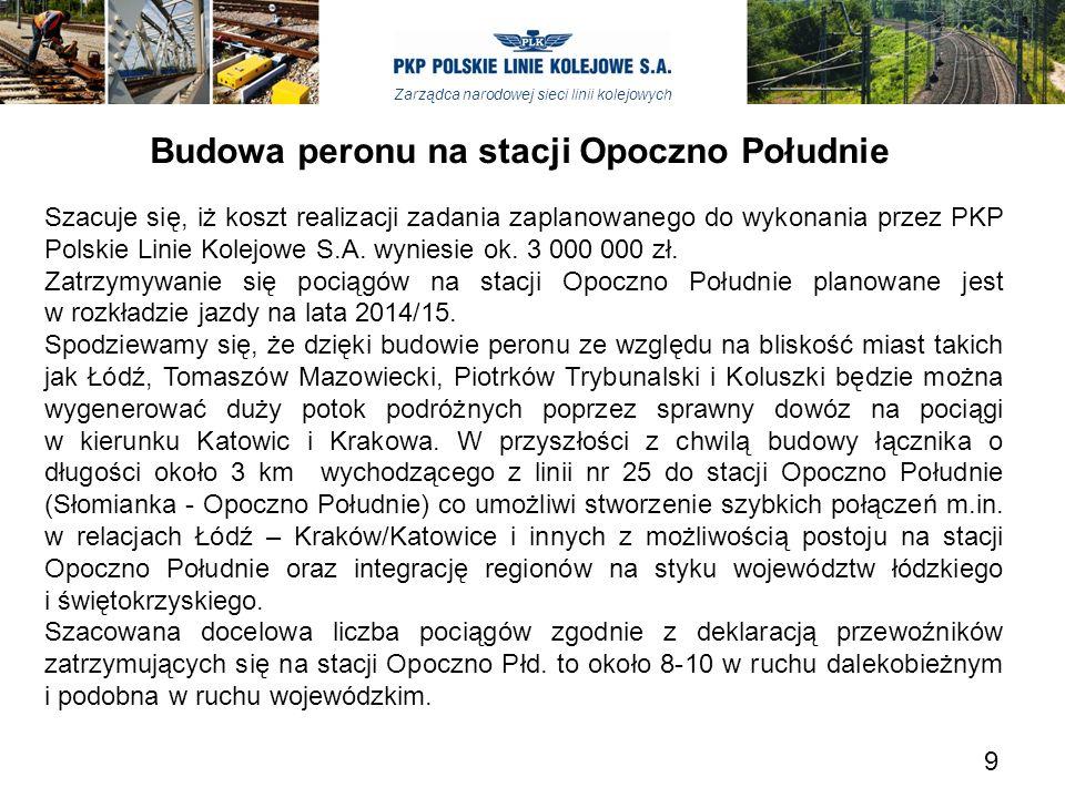Zarządca narodowej sieci linii kolejowych Budowa peronu na stacji Opoczno Południe Szacuje się, iż koszt realizacji zadania zaplanowanego do wykonania przez PKP Polskie Linie Kolejowe S.A.