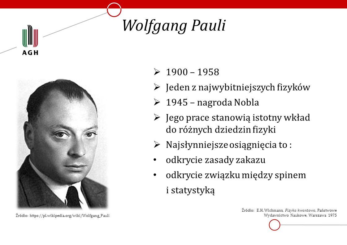 Wolfgang Pauli  1900 – 1958  Jeden z najwybitniejszych fizyków  1945 – nagroda Nobla  Jego prace stanowią istotny wkład do różnych dziedzin fizyki