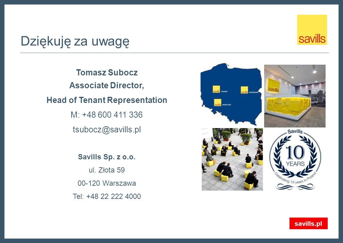 Dziękuję za uwagę Tomasz Subocz Associate Director, Head of Tenant Representation M: +48 600 411 336 tsubocz@savills.pl Savills Sp.