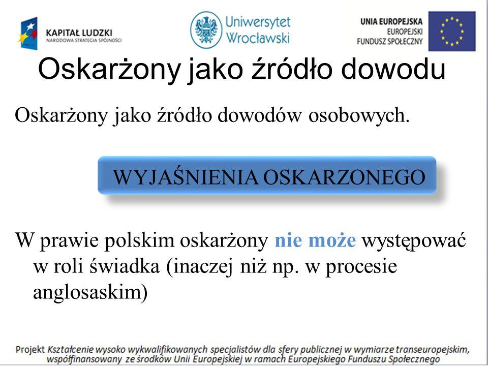 Oskarżony jako źródło dowodu Oskarżony jako źródło dowodów osobowych. WYJAŚNIENIA OSKARZONEGO W prawie polskim oskarżony nie może występować w roli św