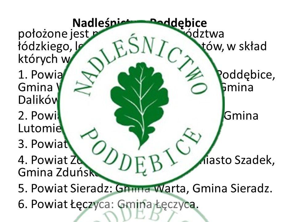 położone jest na terenie województwa łódzkiego, leżąc w zasięgu 6 powiatów, w skład których wchodzi teren 13 gmin. 1. Powiat Poddębice: Gmina i miasto