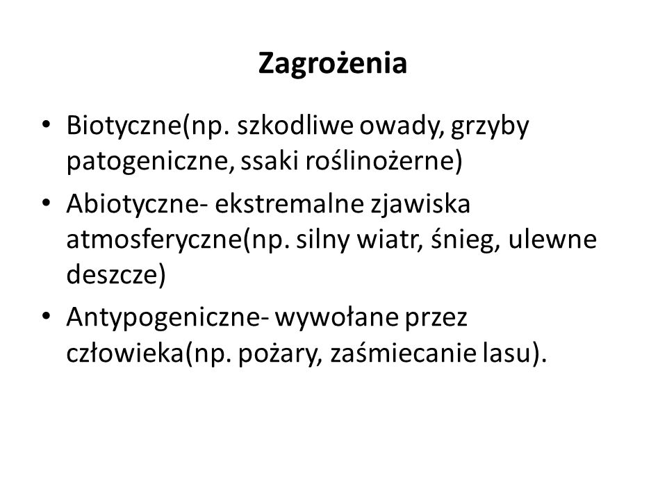 Zagrożenia Biotyczne(np. szkodliwe owady, grzyby patogeniczne, ssaki roślinożerne) Abiotyczne- ekstremalne zjawiska atmosferyczne(np. silny wiatr, śni