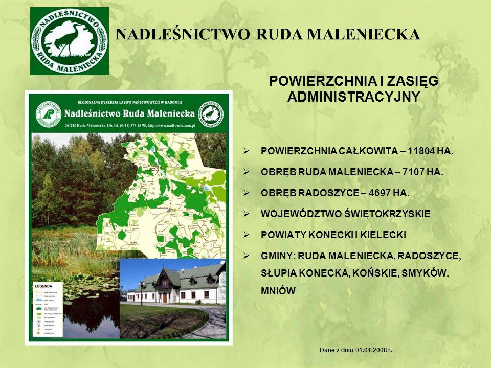 WARUNKI PRZYRODNICZE Podział lasów według funkcji : 1.Lasy gospodarcze – 7483,5 ha 2.Lasy ochronne – 4030 ha w tym: Drzewostany wodochronne - 3685 ha Ostoje zwierząt – 280 ha Drzewostany nasienne – 507 ha Rezerwaty – 2,50 ha Podział lasów według siedlisk: 1.Żyzność: Borowe – 68,0 % Lasowe – 27,9 % Olsy i olsy jesionowe – 4,1 % 1.Stopień uwilgotnienia: Suche – 0,1% Świeże - 65,0 % Wilgotne i bagienne – 34,9 %