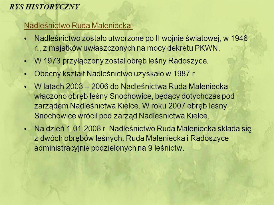 RYS HISTORYCZNY Nadleśnictwo Ruda Maleniecka: Nadleśnictwo zostało utworzone po II wojnie światowej, w 1946 r., z majątków uwłaszczonych na mocy dekretu PKWN.