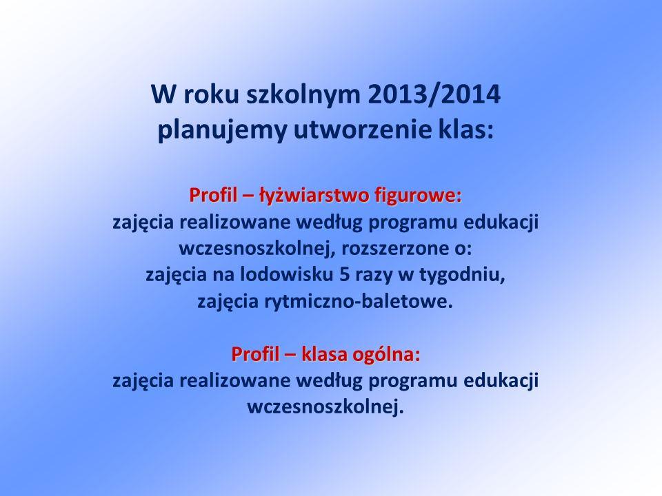 Profil – łyżwiarstwo figurowe: Profil – klasa ogólna: W roku szkolnym 2013/2014 planujemy utworzenie klas: Profil – łyżwiarstwo figurowe: zajęcia realizowane według programu edukacji wczesnoszkolnej, rozszerzone o: zajęcia na lodowisku 5 razy w tygodniu, zajęcia rytmiczno-baletowe.