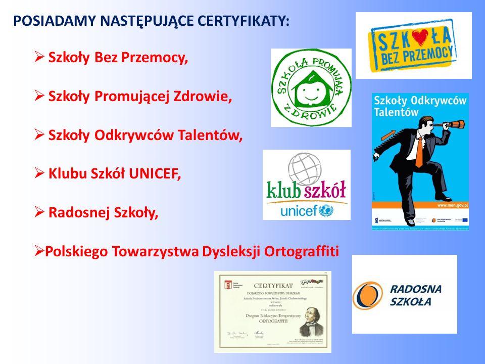  Szkoły Bez Przemocy,  Szkoły Promującej Zdrowie,  Szkoły Odkrywców Talentów,  Klubu Szkół UNICEF,  Radosnej Szkoły,  Polskiego Towarzystwa Dysleksji Ortograffiti POSIADAMY NASTĘPUJĄCE CERTYFIKATY: