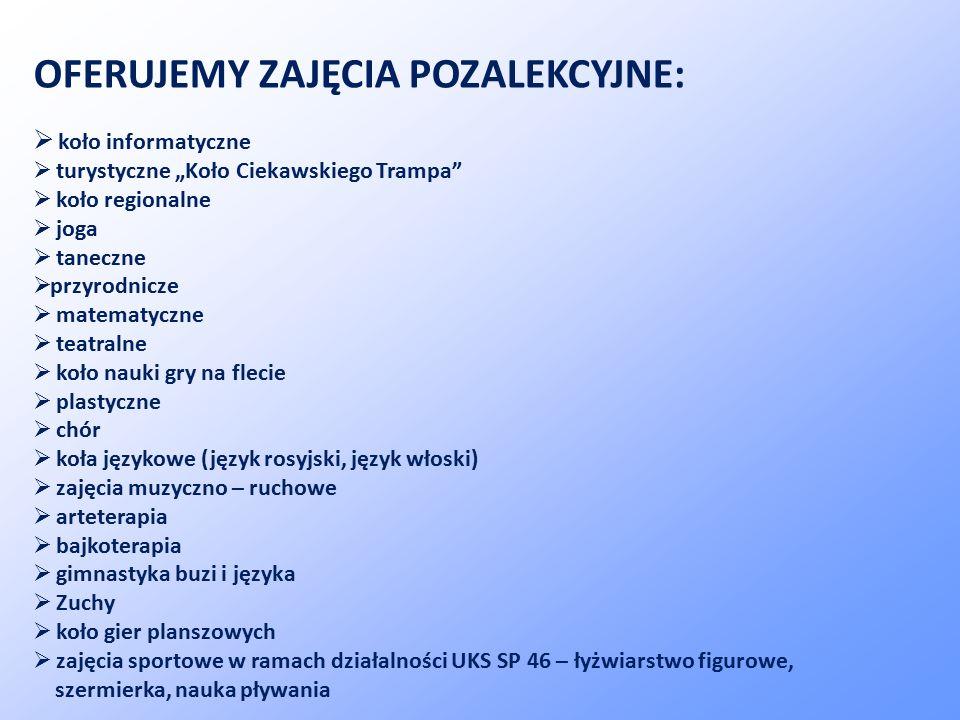 """OFERUJEMY ZAJĘCIA POZALEKCYJNE:  koło informatyczne  turystyczne """"Koło Ciekawskiego Trampa""""  koło regionalne  joga  taneczne  przyrodnicze  mat"""