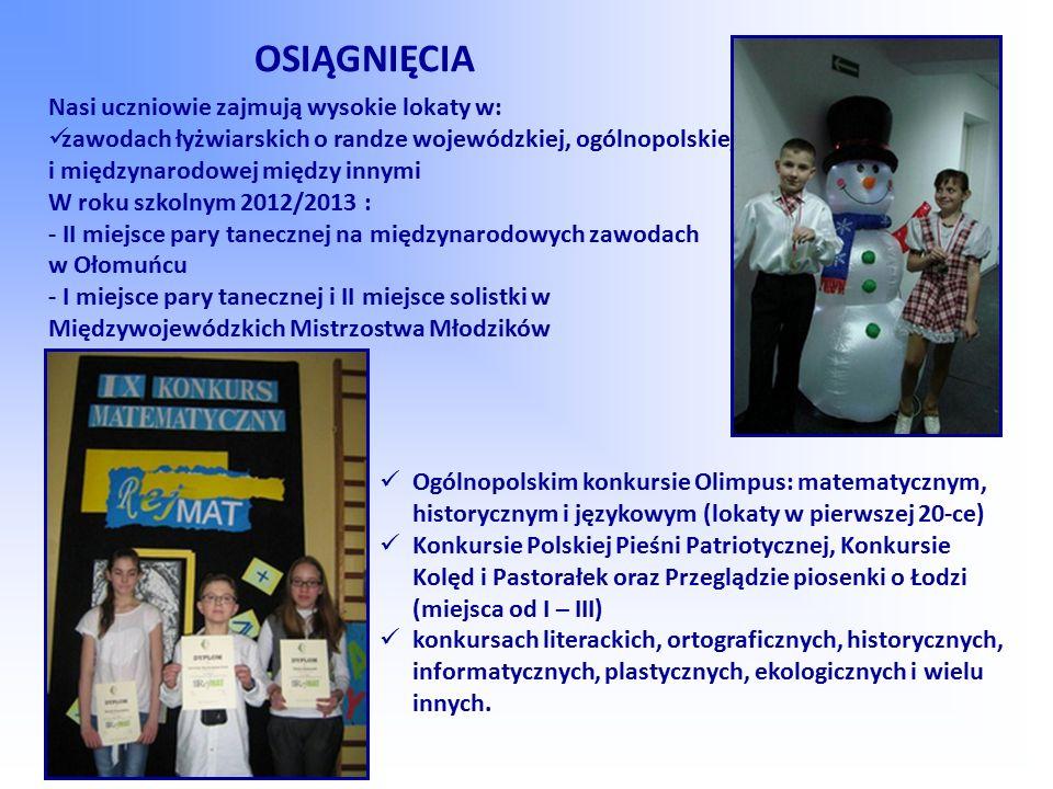 OSIĄGNIĘCIA Nasi uczniowie zajmują wysokie lokaty w: zawodach łyżwiarskich o randze wojewódzkiej, ogólnopolskiej i międzynarodowej między innymi W rok
