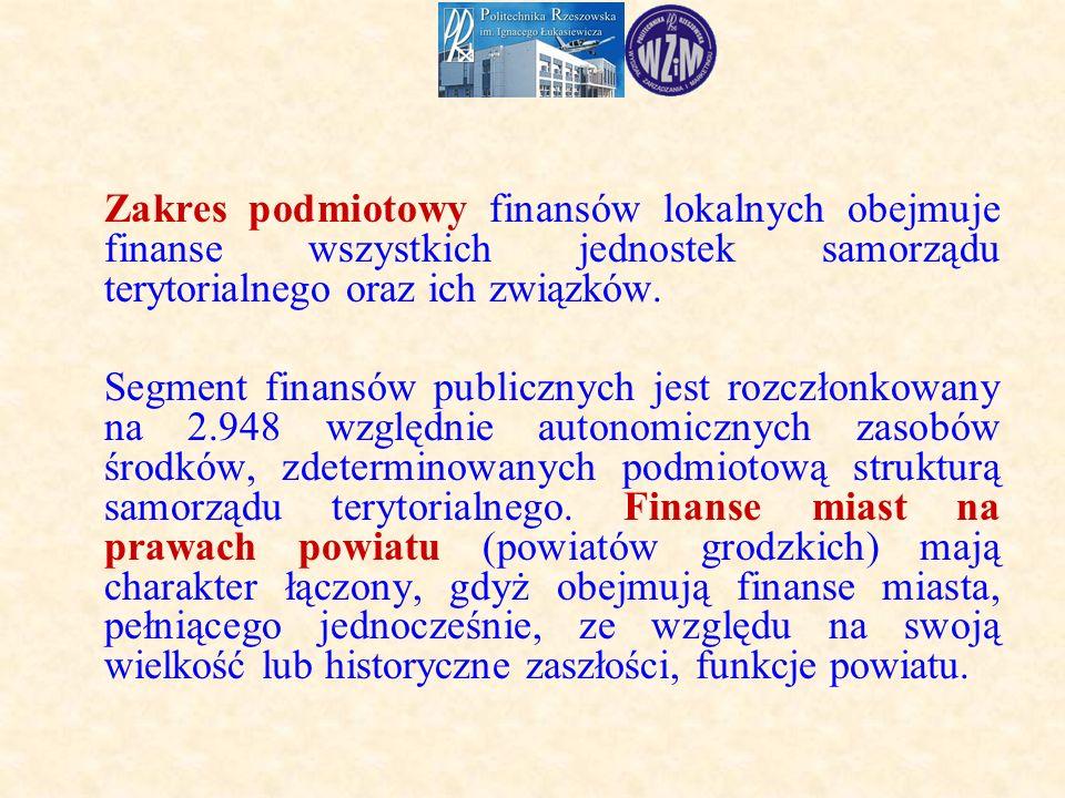 Zakres podmiotowy finansów lokalnych obejmuje finanse wszystkich jednostek samorządu terytorialnego oraz ich związków.