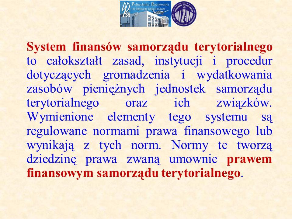 System finansów samorządu terytorialnego to całokształt zasad, instytucji i procedur dotyczących gromadzenia i wydatkowania zasobów pieniężnych jednostek samorządu terytorialnego oraz ich związków.