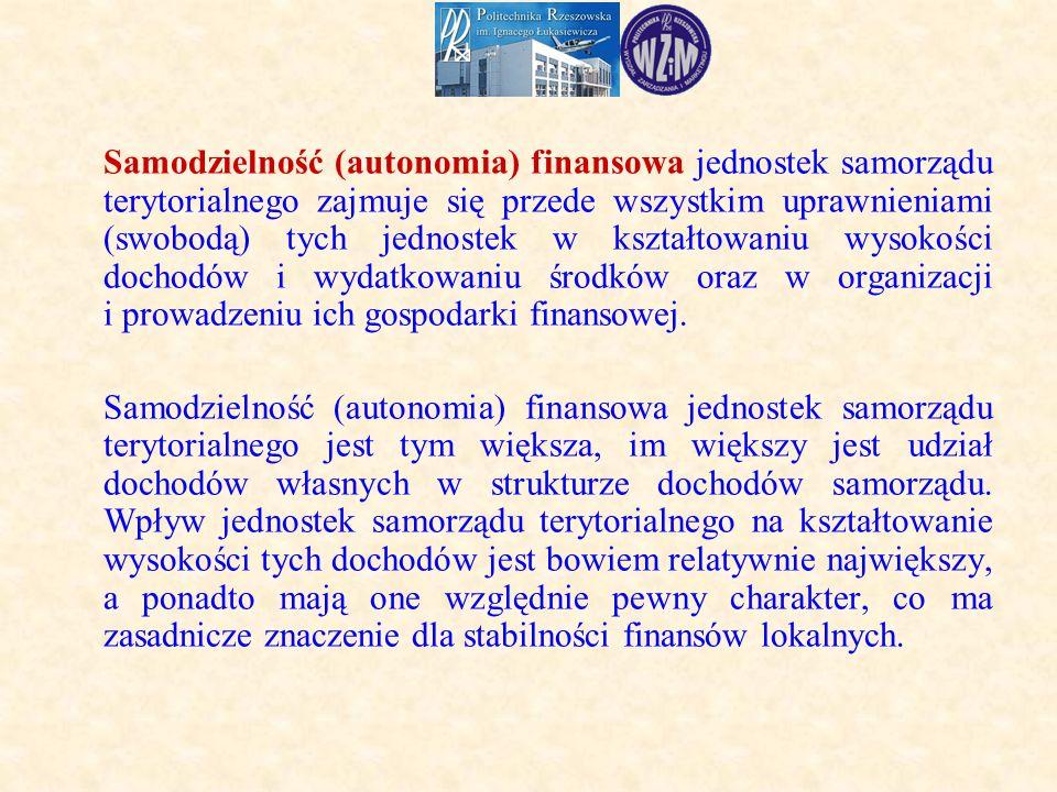 Samodzielność (autonomia) finansowa jednostek samorządu terytorialnego zajmuje się przede wszystkim uprawnieniami (swobodą) tych jednostek w kształtowaniu wysokości dochodów i wydatkowaniu środków oraz w organizacji i prowadzeniu ich gospodarki finansowej.
