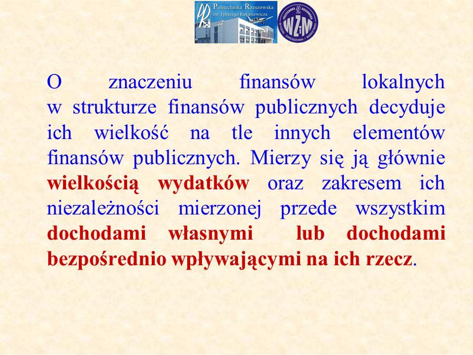 O znaczeniu finansów lokalnych w strukturze finansów publicznych decyduje ich wielkość na tle innych elementów finansów publicznych.