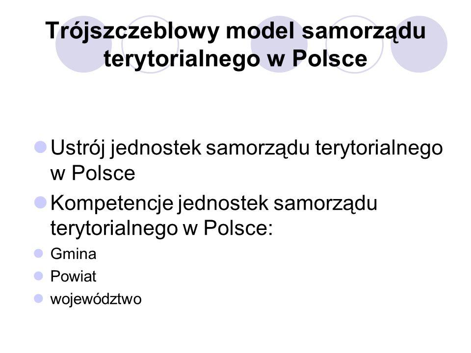 Trójszczeblowy model samorządu terytorialnego w Polsce Ustrój jednostek samorządu terytorialnego w Polsce Kompetencje jednostek samorządu terytorialnego w Polsce: Gmina Powiat województwo