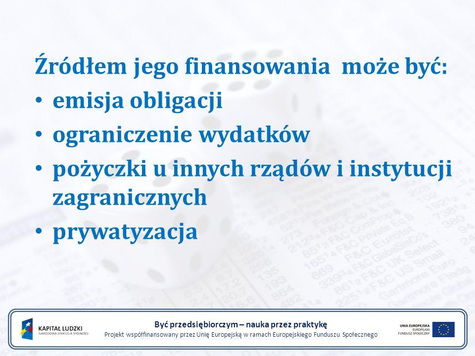 Być przedsiębiorczym – nauka przez praktykę Projekt współfinansowany przez Unię Europejską w ramach Europejskiego Funduszu Społecznego Źródłem jego finansowania może być: emisja obligacji ograniczenie wydatków pożyczki u innych rządów i instytucji zagranicznych prywatyzacja