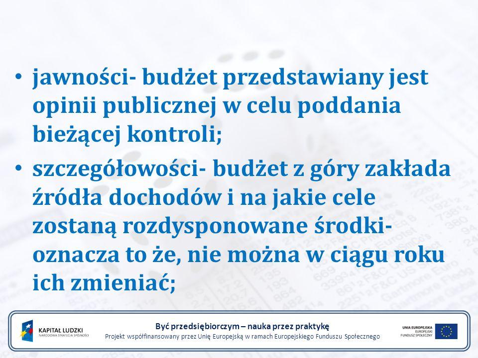 Być przedsiębiorczym – nauka przez praktykę Projekt współfinansowany przez Unię Europejską w ramach Europejskiego Funduszu Społecznego zrównoważenia budżetu- pełne finansowanie wydatków państwa z jego dochodów.