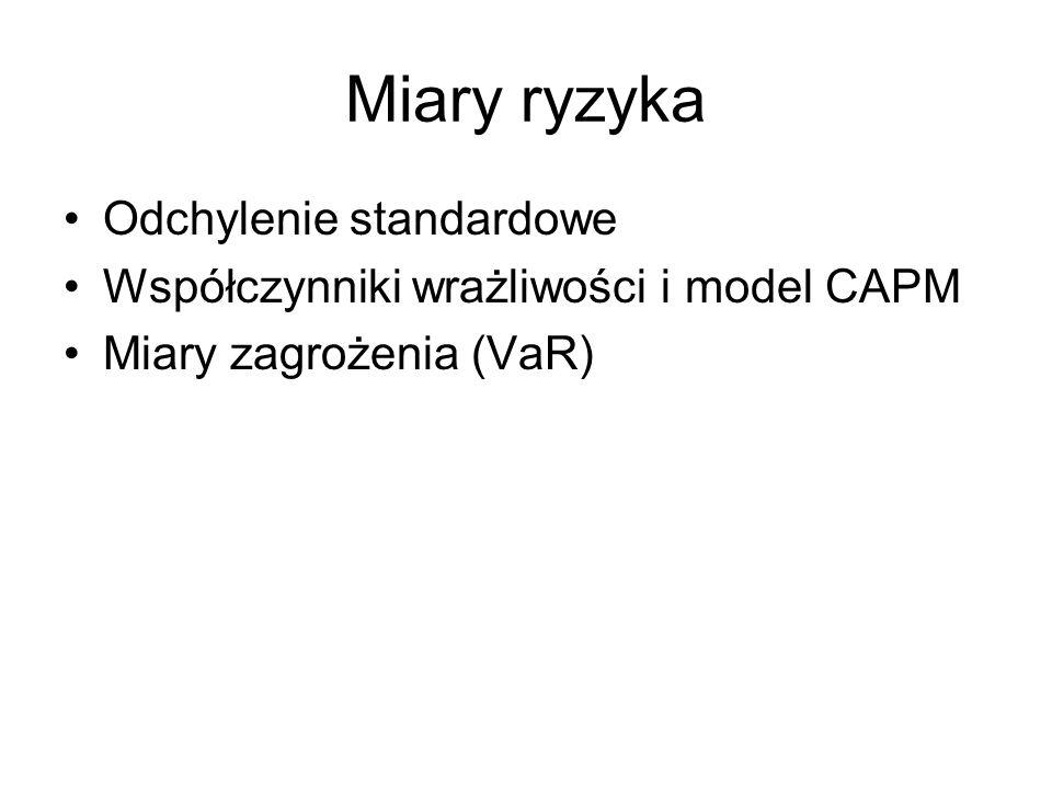 Miary ryzyka Odchylenie standardowe Współczynniki wrażliwości i model CAPM Miary zagrożenia (VaR)