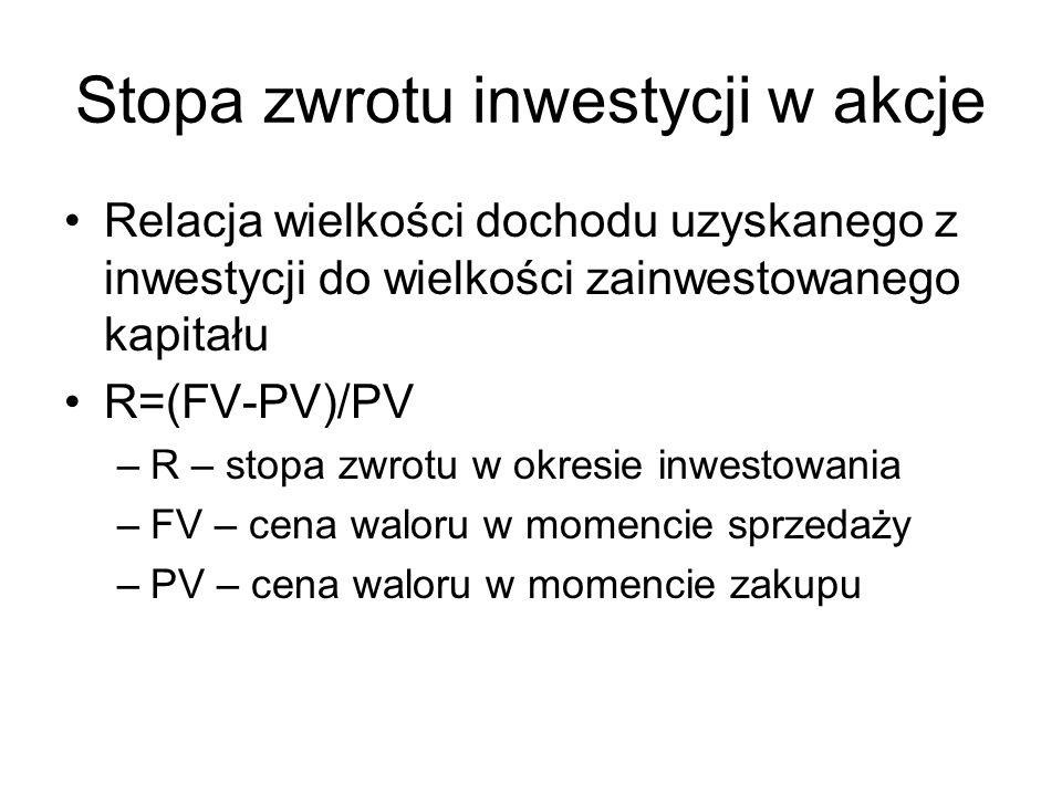 Stopa zwrotu inwestycji w akcje Relacja wielkości dochodu uzyskanego z inwestycji do wielkości zainwestowanego kapitału R=(FV-PV)/PV –R – stopa zwrotu w okresie inwestowania –FV – cena waloru w momencie sprzedaży –PV – cena waloru w momencie zakupu