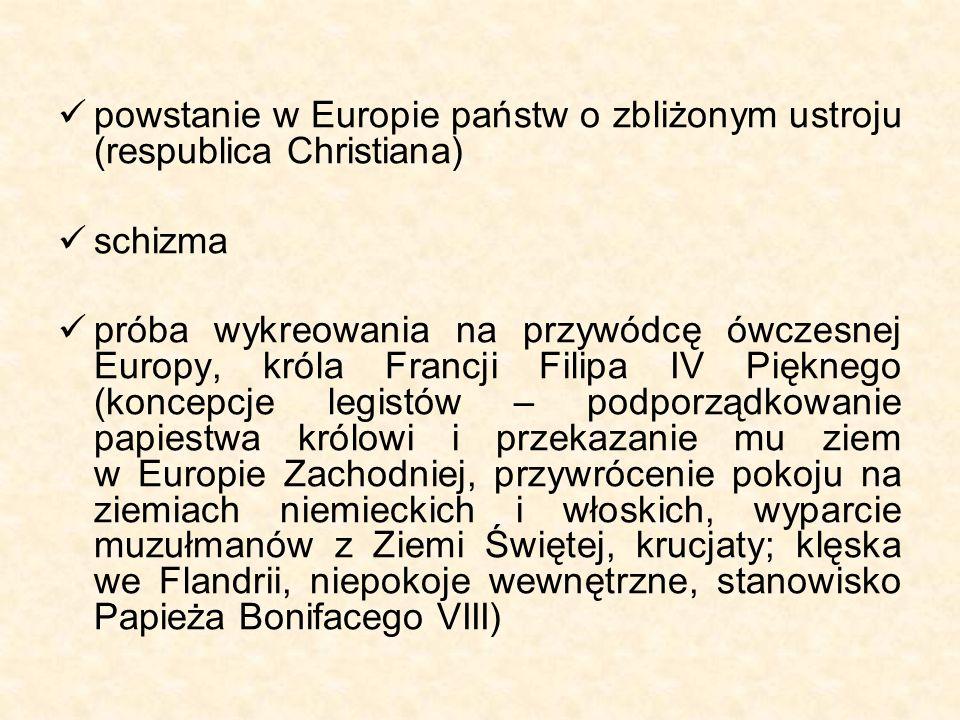 powstanie w Europie państw o zbliżonym ustroju (respublica Christiana) schizma próba wykreowania na przywódcę ówczesnej Europy, króla Francji Filipa I