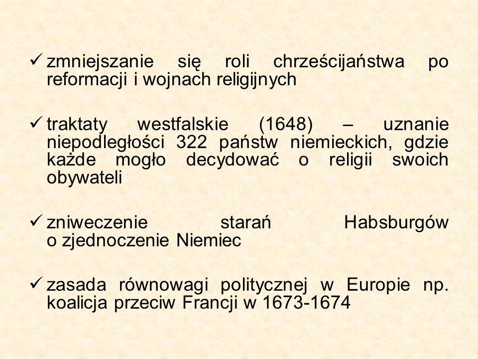 zmniejszanie się roli chrześcijaństwa po reformacji i wojnach religijnych traktaty westfalskie (1648) – uznanie niepodległości 322 państw niemieckich, gdzie każde mogło decydować o religii swoich obywateli zniweczenie starań Habsburgów o zjednoczenie Niemiec zasada równowagi politycznej w Europie np.
