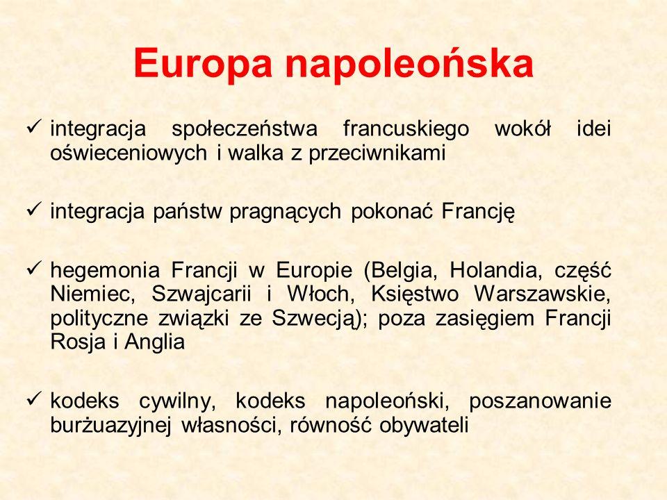 Europa napoleońska integracja społeczeństwa francuskiego wokół idei oświeceniowych i walka z przeciwnikami integracja państw pragnących pokonać Francję hegemonia Francji w Europie (Belgia, Holandia, część Niemiec, Szwajcarii i Włoch, Księstwo Warszawskie, polityczne związki ze Szwecją); poza zasięgiem Francji Rosja i Anglia kodeks cywilny, kodeks napoleoński, poszanowanie burżuazyjnej własności, równość obywateli