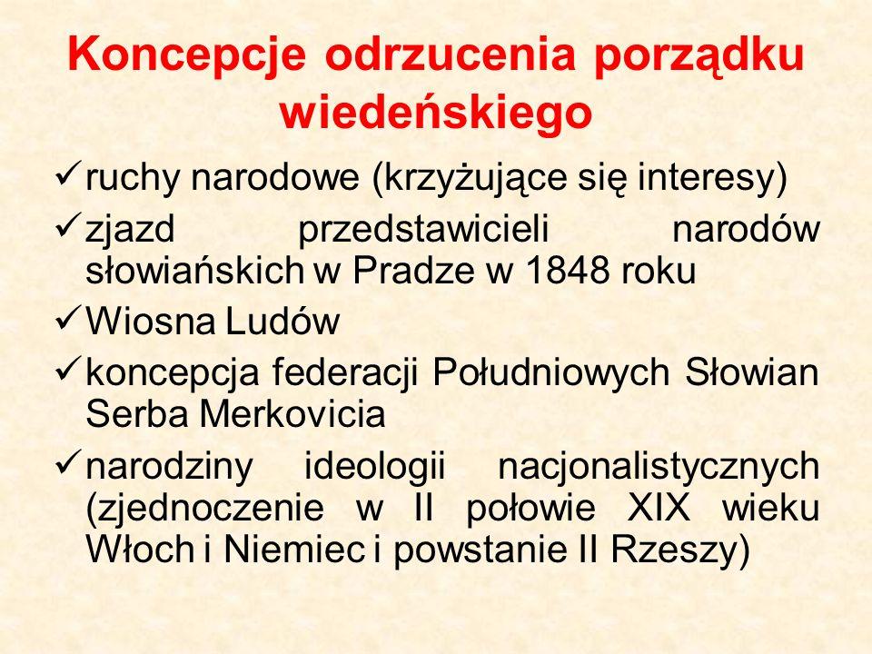 Koncepcje odrzucenia porządku wiedeńskiego ruchy narodowe (krzyżujące się interesy) zjazd przedstawicieli narodów słowiańskich w Pradze w 1848 roku Wi